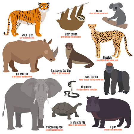 Different kinds deleted species die out rare uncommon red book animals dying wild nature characters vector illustration Zdjęcie Seryjne - 80877041