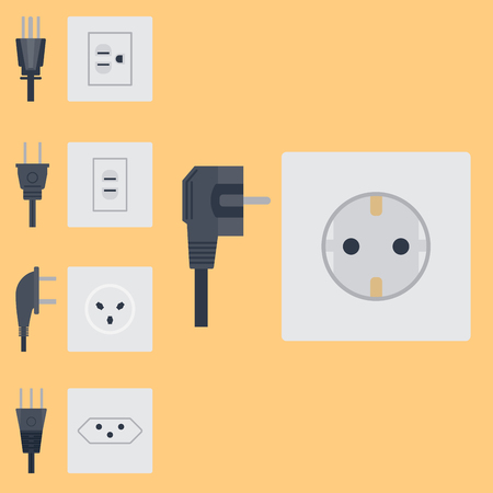 Electric outlet vector illustration energy socket electrical outlets plugs european appliance interior icon. Çizim