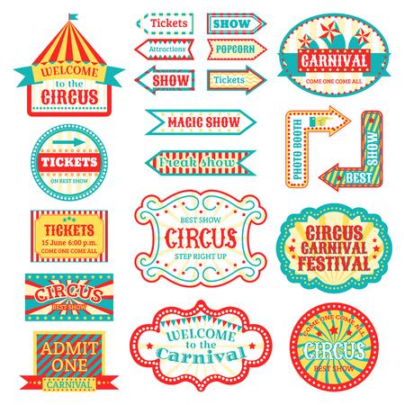 Circus vintage uithangbord etiketten banner vectorillustratie geïsoleerd op wit entertaining banner teken