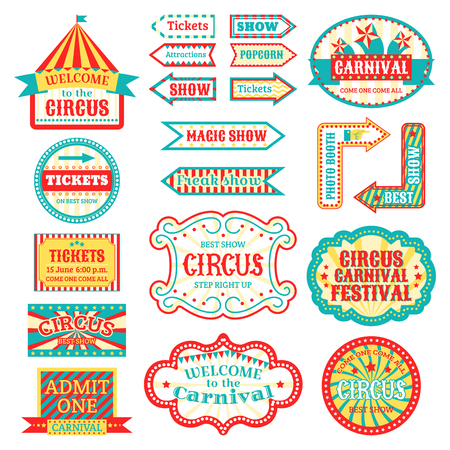 Cirque vintage enseigne étiquettes bannière vector illustration isolé sur blanc divertissant bannière signe