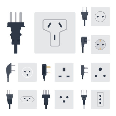 Electric outlet vector illustration energy socket electrical outlets plugs european appliance interior icon. Reklamní fotografie - 80945526