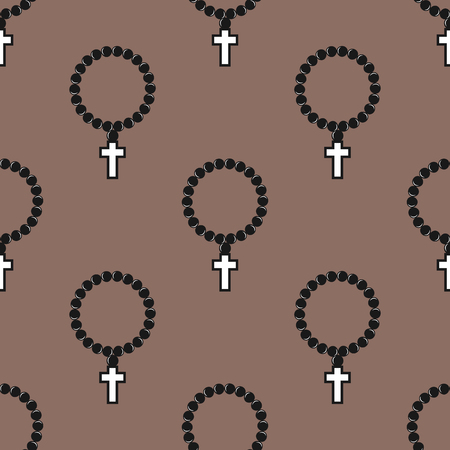 Vector seamless cross pattern abstract background with monochrome religion christianity print