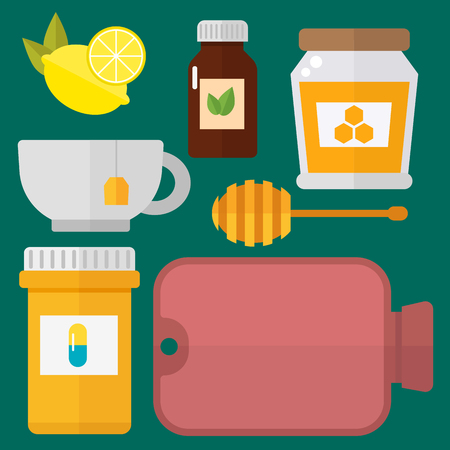 Influenza and cold themed design elements in trendy flat design health medical disease vector