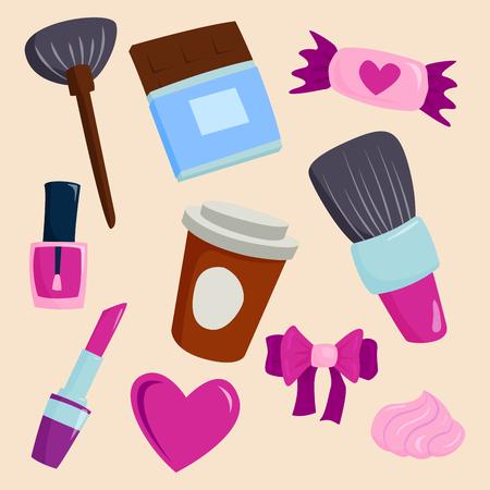 aseo personal: Maquillaje iconos perfume rimel cuidado cepillos peine hecho frente eyeshadow glamour femenino accesorio vector.