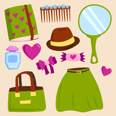 Vector summer girl clothing and accessories isolated shopping items and beautiful cosmetic or makeup. Illustration
