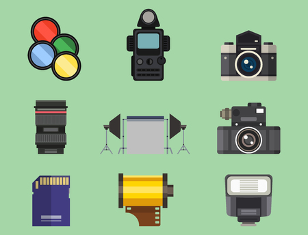 shutter aperture: Camera photo optic lenses set different types objective retro photography equipment professional look vector illustration