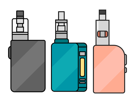 Vape device vector set cigarette vaporizer vapor juice bottle flavor illustration battery coil.