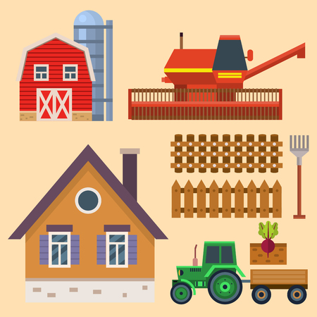 A vector farm harvesting equipment for agriculture and horticulture tractor harvester tools. Stock Vector - 80999954