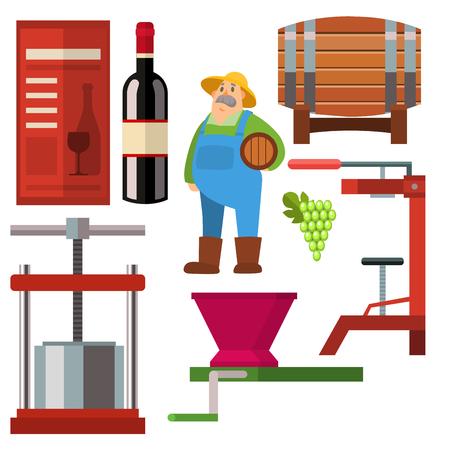 와이너리 만드는 수확 지하실 포도원 유리 음료 산업 알코올 생산 벡터 일러스트 레이션