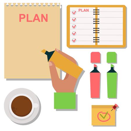 A vector notebook agenda business note plan work reminder planner organizer illustration. Illustration