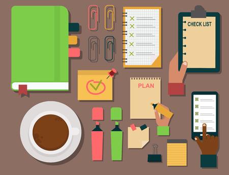 A vector notebook agenda business note plan work reminder planner organizer illustration. Stock Vector - 80999963