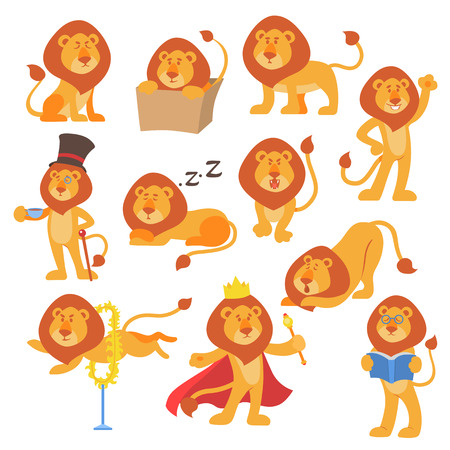 Lion mascot vector pose happy cartoon cute wild character mammal cat jungle animal illustration.
