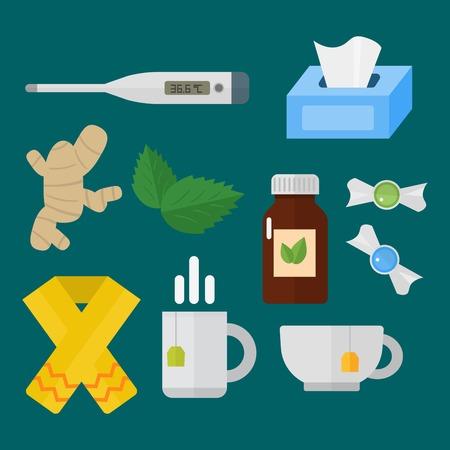 Influenza en koude thema-ontwerpelementen in trendy platte ontwerp gezondheid medische ziekte vector Stock Illustratie