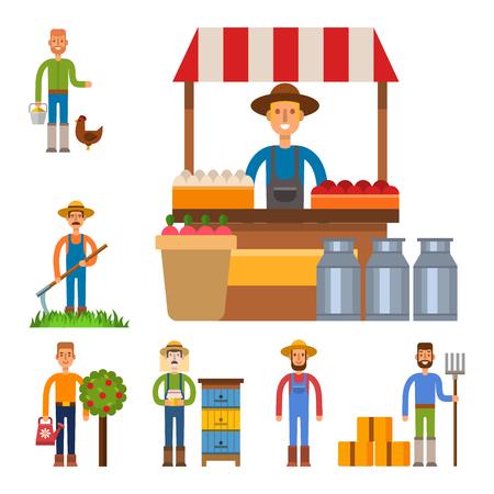 Farmer character man agriculture person profession rural gardener worker people vector illustration. Illustration
