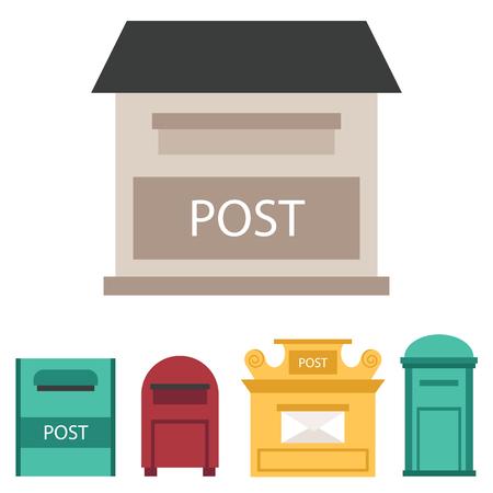 아름 다운 농촌 curbside 세마포 플래그 postbox 벡터 일러스트와 함께 열려 있고 닫힌 된 우편 사서함