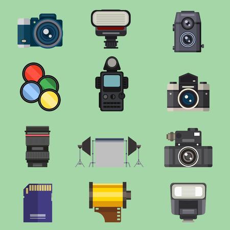 Camera foto optische lenzen instellen verschillende types objectieve retro fotografie apparatuur professionele look vector illustratie Stockfoto - 80953112
