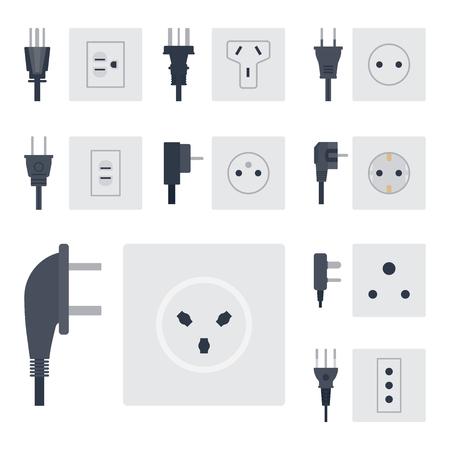 コンセント ベクトル図エネルギー ソケット コンセント プラグ ヨーロッパ家電インテリア アイコンです。  イラスト・ベクター素材