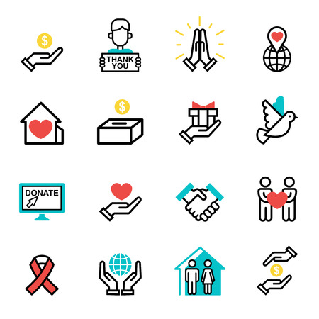 Donate money set outline icons help icon donation contribution charity philanthropy symbols humanity support vector