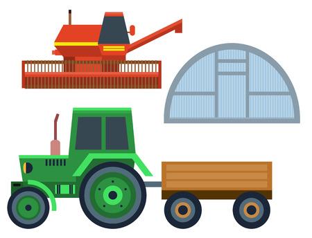 Vector boerderij oogst trekker apparatuur landbouw en tuinbouw landbouw handgereedschap Stock Illustratie