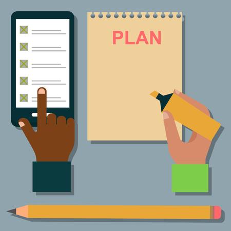 appointment book: Vector notebook agenda business note plan work reminder planner organizer illustration. Illustration