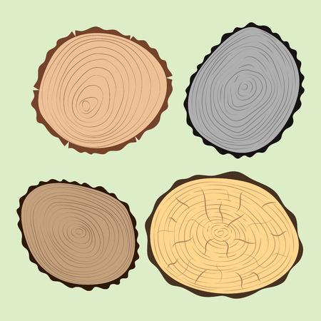 Houten plakje structuur boom cirkel gesneden grondstof set detail plant jaar geschiedenis getextureerde ruwe bos vector illustratie.