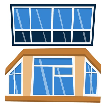 Different types of house elements flat style frames construction decoration apartment vector illustration.