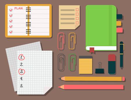 ベクトル ノートブック議題ビジネス メモ計画作業アラーム プランナー オーガナイザーの図。  イラスト・ベクター素材