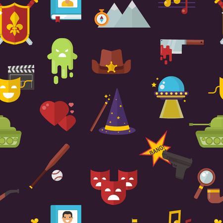 Cinema genre icons set Illustration