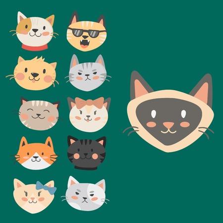 Cats heads vector illustration