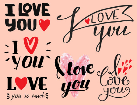 Vector I love You text overlays hand drawn lettering collection inspirational lover quote illustration. Ilustração