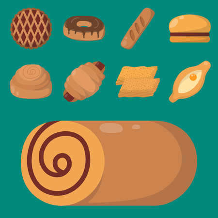 Cookie cakes isolated tasty snack delicious chocolate homemade pastry biscuit vector illustration Ilustrace