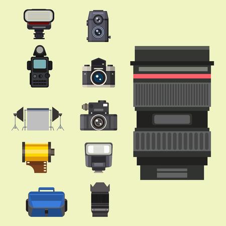 Optische lenzen voor camera's stellen verschillende typen objectieve retrofotoapparatuur in Stock Illustratie