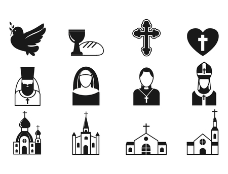 Flat icons vector illustration of traditional holy religious black silhouette praying people