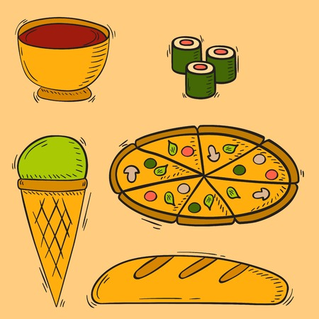 Vector icons sweet fast food hand drawn restaurant breakfast ice cream design kitchen unhealthy meal