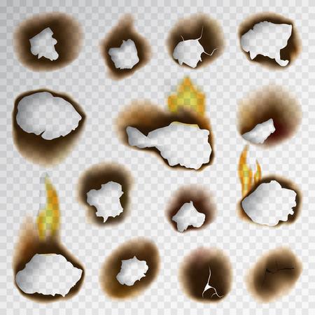 Verbrand stuk verbrand vervaagd papier gat realistische vuur vlam geïsoleerde pagina blad gescheurde as vectorillustratie