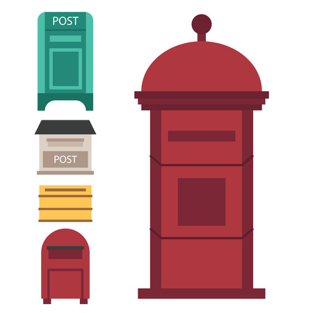 Beautiful rural curbside open and closed postal mailboxes with semaphore flag postbox vector illustration Ilustração