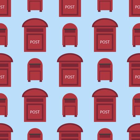 아름 다운 농촌 curbside 원활한 패턴 우편 사서함 세마포 플래그 postbox 벡터 일러스트와 함께
