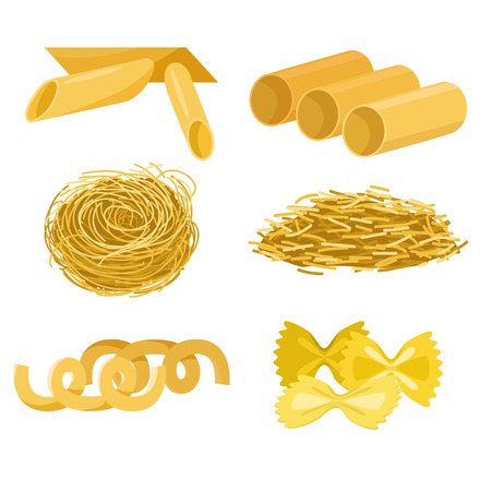 Different types of pasta whole wheat corn rice noodles organic food macaroni yellow nutrition dinner products vector illustration