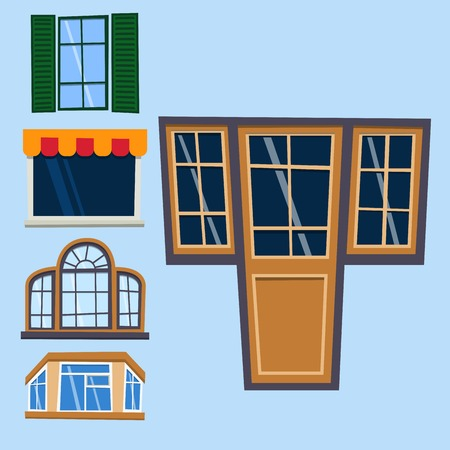 Different types house windows elements flat style frames construction decoration apartment vector illustration. Stock Vector - 81127131