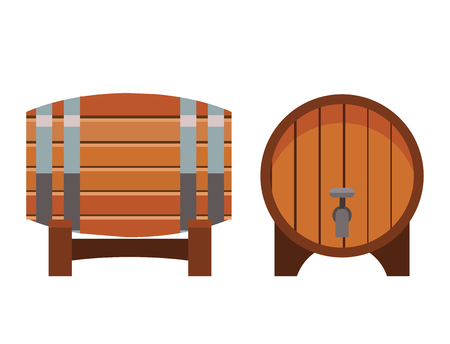 Wooden barrel vintage old style oak storage container beverage fermenting distillery drum lager vector illustration. Ilustrace