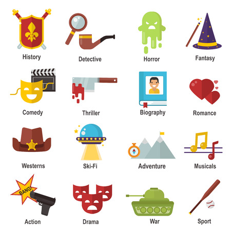 Cinema genre icons set cinematography flat entertainment comedy, drama, thriller movie production symbol vector illustration.