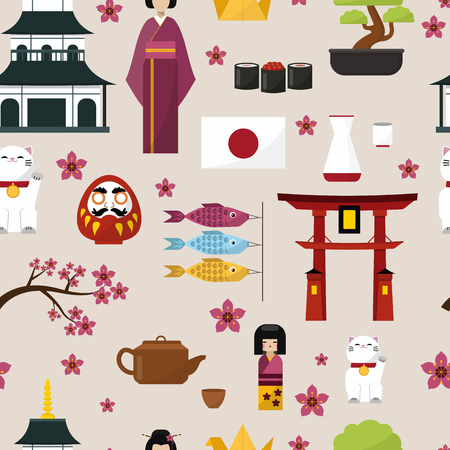 Japan famous culture architecture buildings and japanese traditional food vector icons of travel vacation.