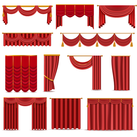 Theather scene red blind curtain stage fabric texture isolated on a white background illustration Ilustração