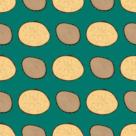 Houtsnijwerk Textuur Boomcirkel Gesneden Grondstof Naadloos Patroon Detail Plant Jaar Geschiedenis Geweven Ruw Bos Vectorillustratie.