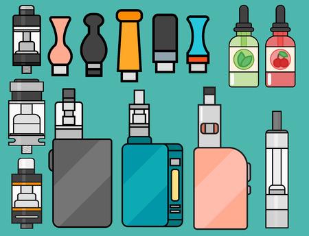 アーク デバイス ベクトルは、シガレット気化蒸気ジュース ボトル味図バッテリー コイルを設定します。 写真素材 - 81135742