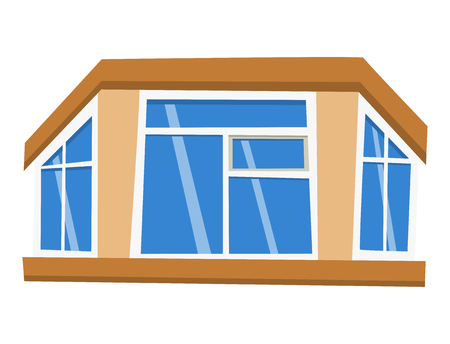 Different types house windows elements flat style frames construction decoration apartment vector illustration. Stock Vector - 81135748