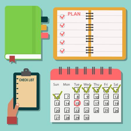 Vector notebook agenda business note plan work reminder planner organizer illustration. Çizim