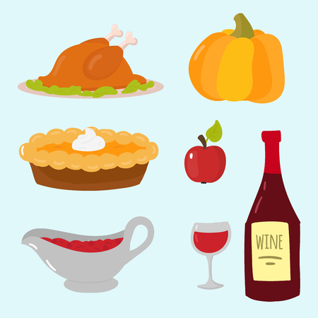 dinner party: Happy thanksgiving day symbols design holiday objects fresh food harvest autumn season vector illustration