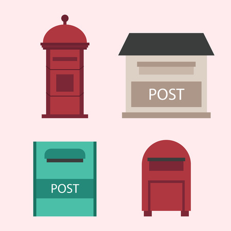 Beautiful rural curbside open and closed mailboxes with semaphore flag postbox vector illustration. Traditional communication empty postage post mail box. Letter message service correspondence. Ilustrace