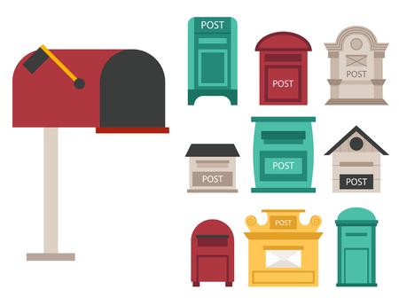 아름 다운 농촌 curbside 세마포 플래그 사서함 postbox 벡터 일러스트와 함께 열려 있고 닫힌 된 사서함. 전통적인 통신 빈 우표 게시물 메일 상자입니다.  일러스트